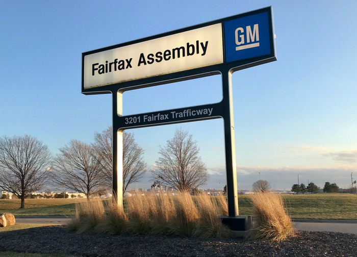 A sign outside GM's Fairfax Assembly Plant.