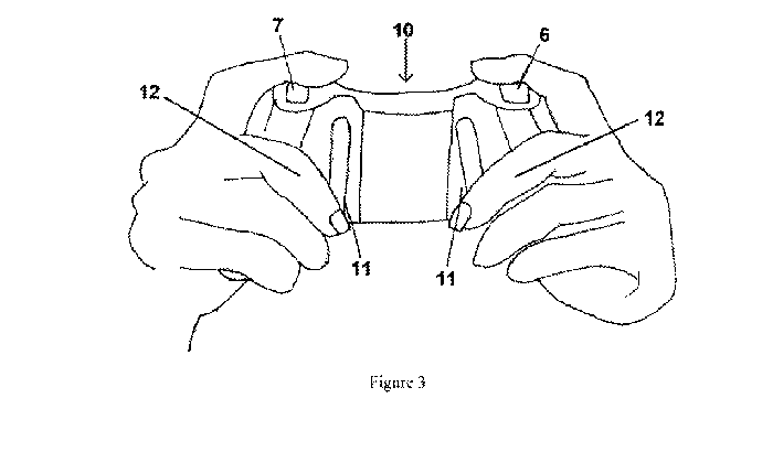 Line drawing of two hands holding a video game controller with control pads near the resting middle fingers.