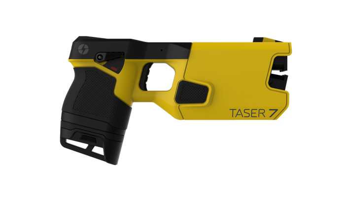 A yellow Taser electrical weapon