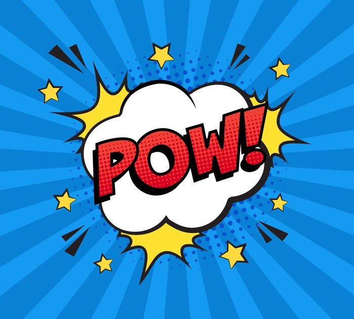 The word POW written on a cartoon cloud surrounded by stars