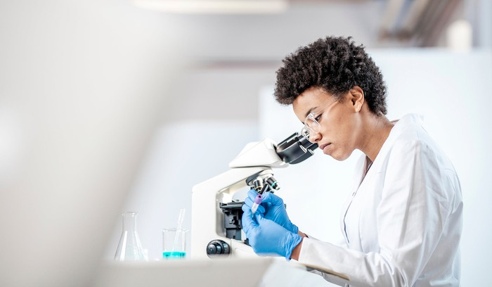 A scientist doing research