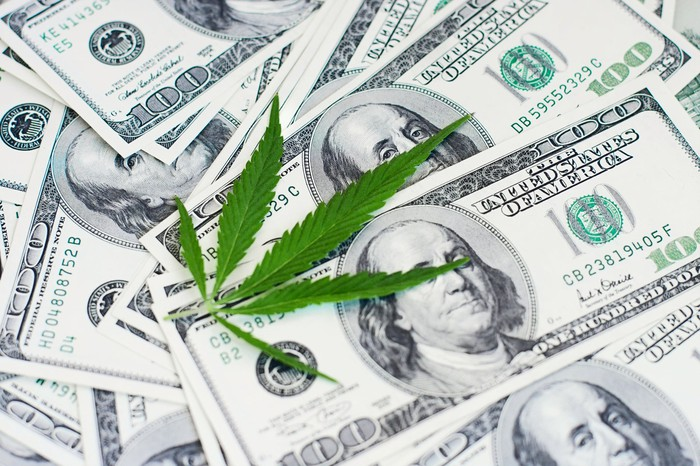 A cannabis leaf on top of a stack of dollar bills.