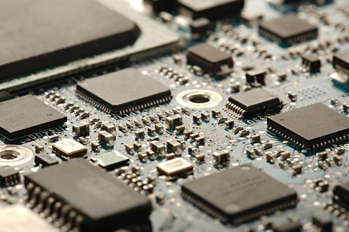 Chips on a circuit board.