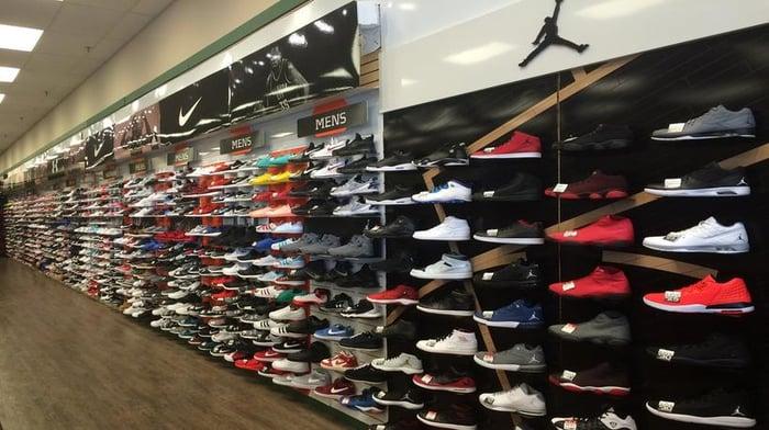 Wall of Nike sneakers.