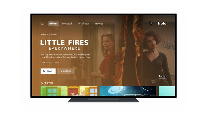 Hulu's user interface on a television.