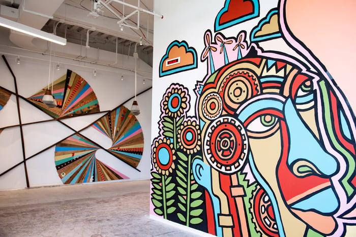 Wall art at Etsy's office.