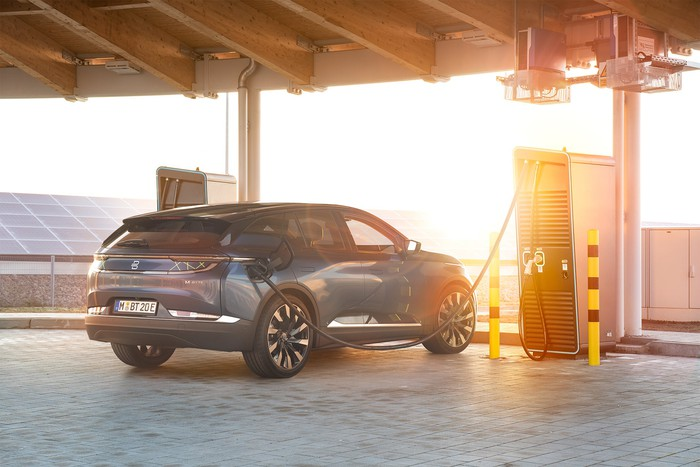 A prototype Byton M-Byte, an electric SUV, at a recharging station.