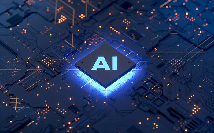 A computer chip labeled AI.