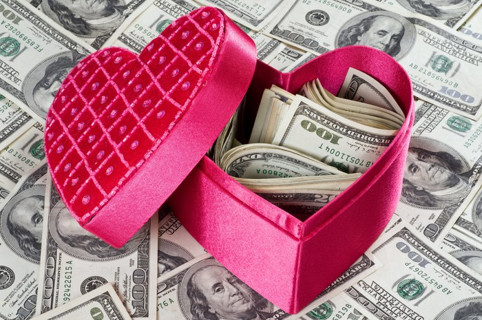A red heart-shaped box filled with hundred dollar bills, sitting on hundred-dollar bills.