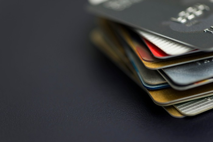 A stack of payment cards.