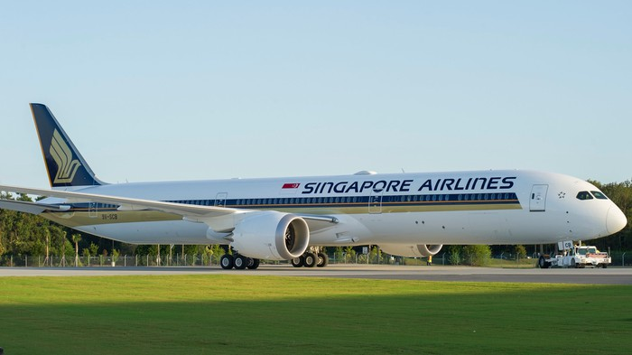 A Singapore Airlines 787 Dreamliner on the runway.