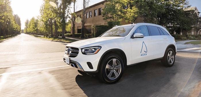 Car with Aeva lidar sensor
