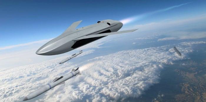 The LongShot UAV in flight.