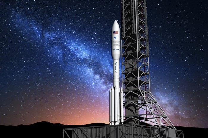 Artist's rendering of OmegA rocket on a launch pad.