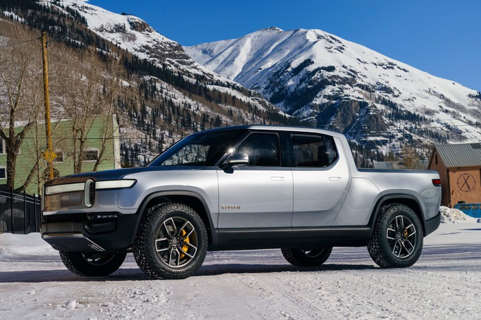 Rivian R1T electric pickup in the snow