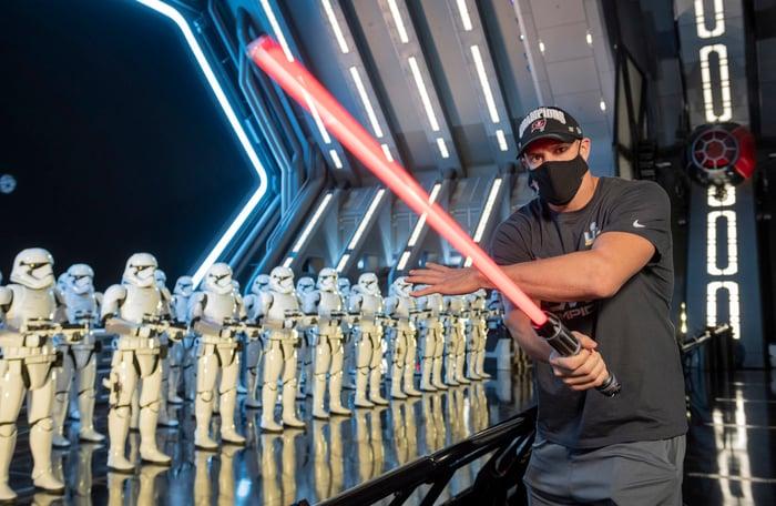 Rob Gronkowski celebrates Super Bowl LV win at Walt Disney World.