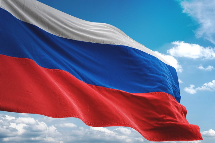 A Russian flag waving in the breeze
