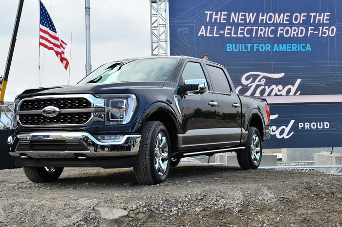 A Ford F-150 at the groundbreaking for Ford's new electric-truck factory in Michigan in October 2020.