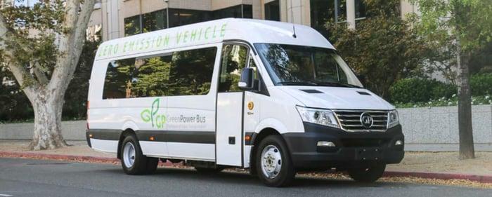 A white GreenPower EV Star, a battery-electric shuttle bus.