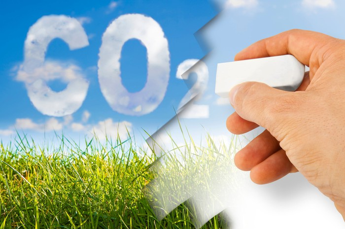 A hand with an eraser removing carbon dioxide with green grass and a blue sky in the background.