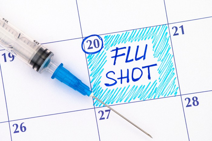 Hyperdermic needle on top of a calendar with a day marked Flu Shot.