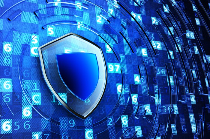 Abstract cybersecurity shield.