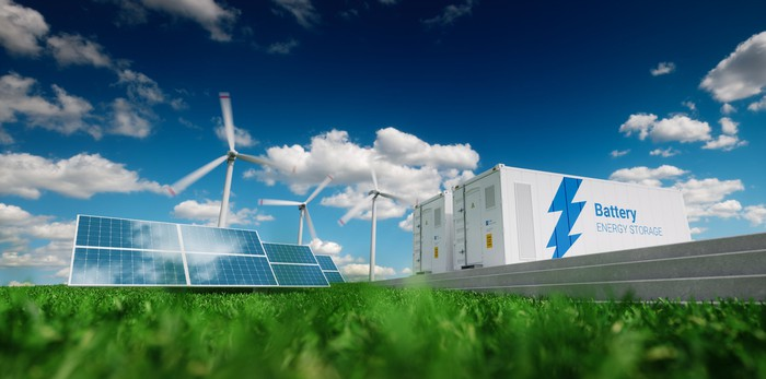 clean energy storage represented by wind, solar panels, and battery storage