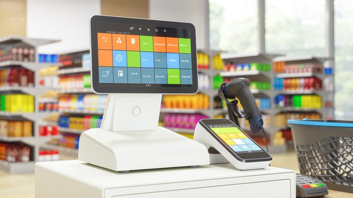 Point of sales system at store counter