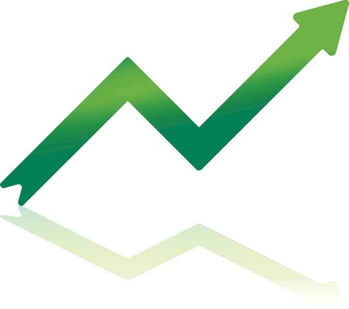 An upward sloping green arrow
