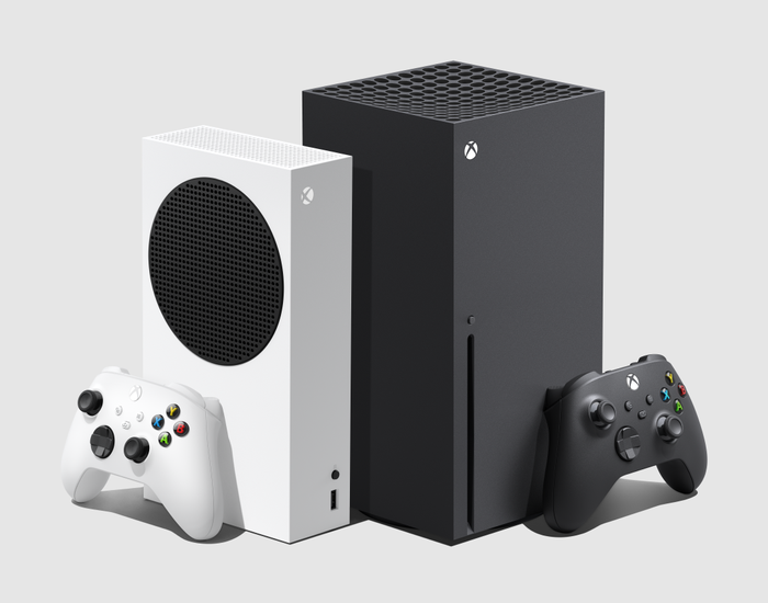Newly launched white Xbox Series S and black Xbox series X.