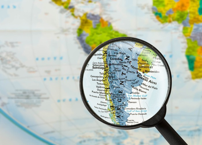 Map of Argentina under a magnifying glass