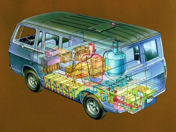 A cutaway drawing of GM's Electrovan, showing the fuel cell system that took up much of its interior.