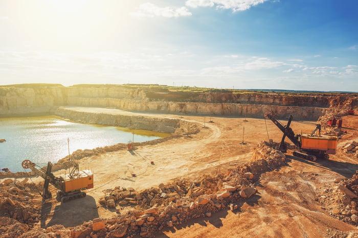 An open pit copper mine