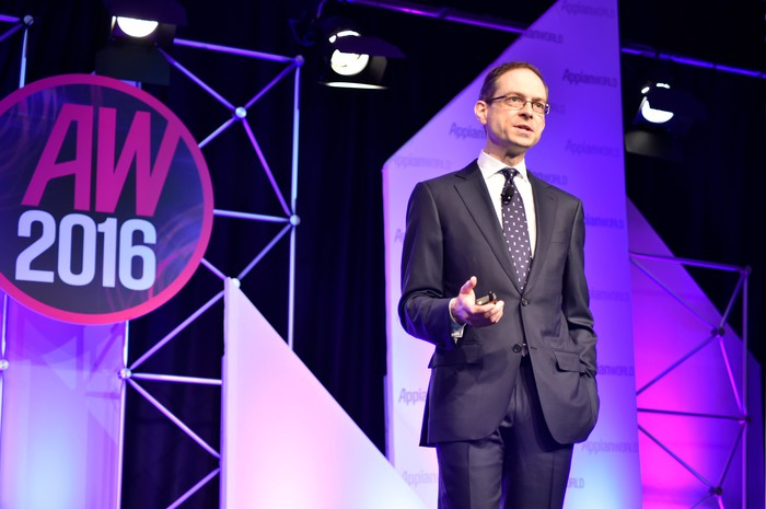 CEO Matt Calkins speaking at an Appian World conference.