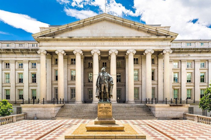 U.S. Treasury building as seen from outside.