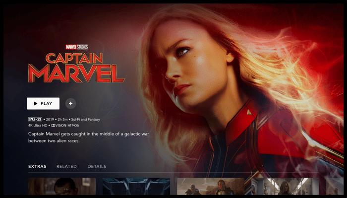 Disney+ screen showing Captain Marvel background.