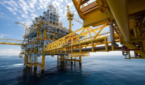 Oil and gas platform in the sea.