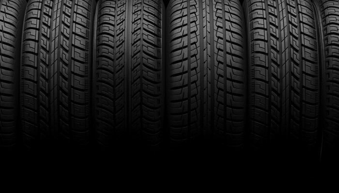 Several tires lined up with each other