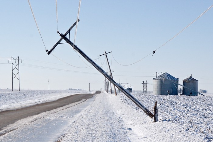 winter ice storm causing power lines to be down