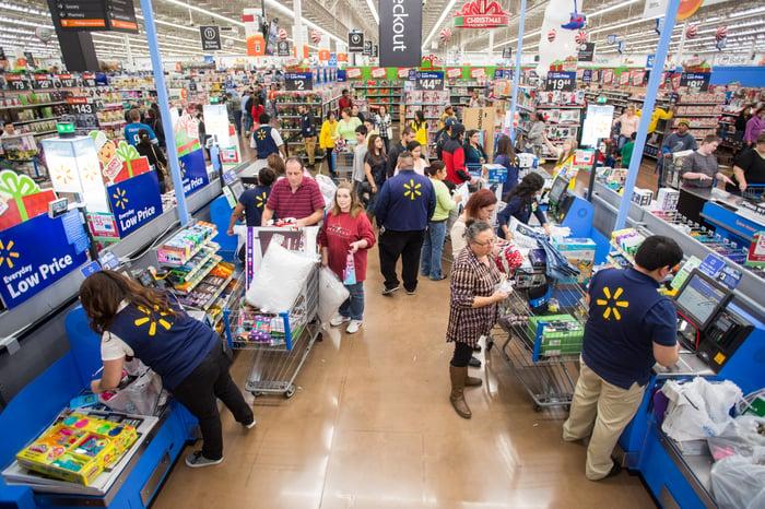 The Walmart checkout area