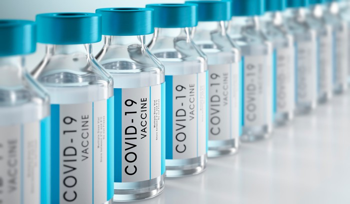 Bottles of COVID-19 vaccines
