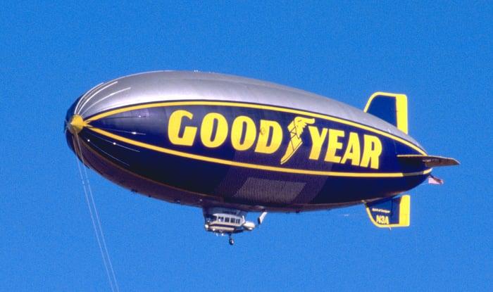 A Goodyear blimp aloft on a clear day.