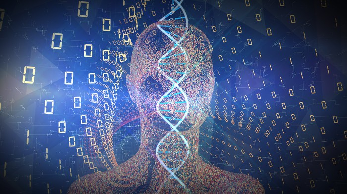DNA with an image of a person's head and 1s and 0s in the background