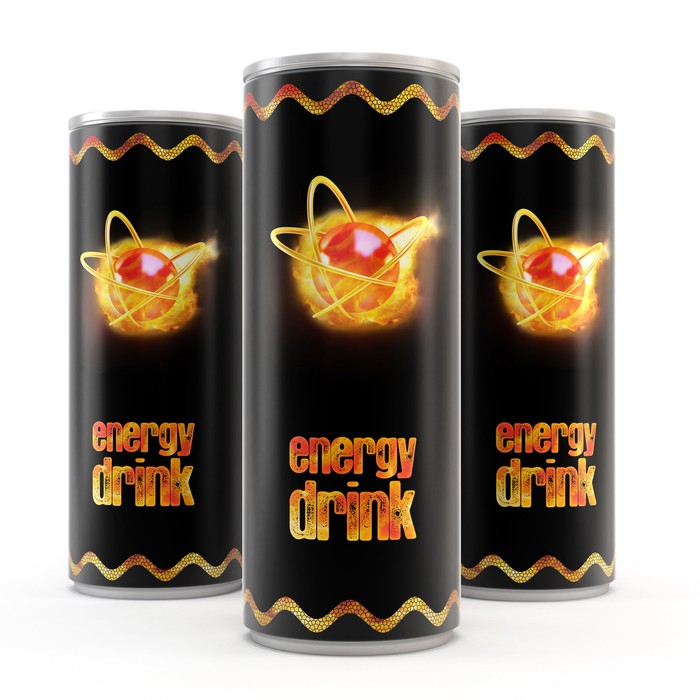 Generic canned energy drinks with a red and yellow logo against a black background.