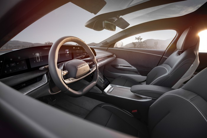 The front seats and dashboard of a Lucid Air.