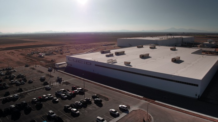 An aerial view of Lucid's Arizona factory.