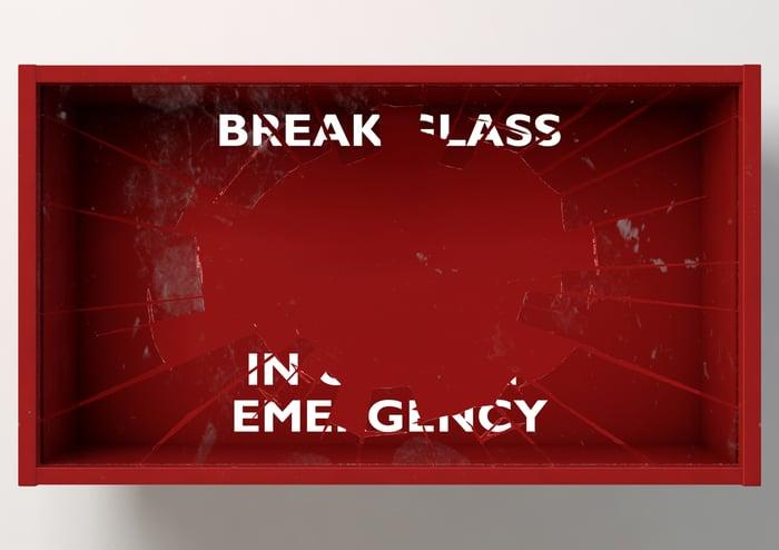 """Broken glass reading """"break glass in case of emergency"""""""