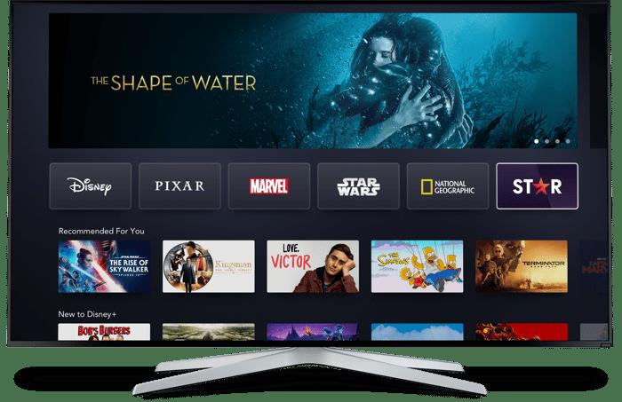 A TV displaying Disney+ homescreen.