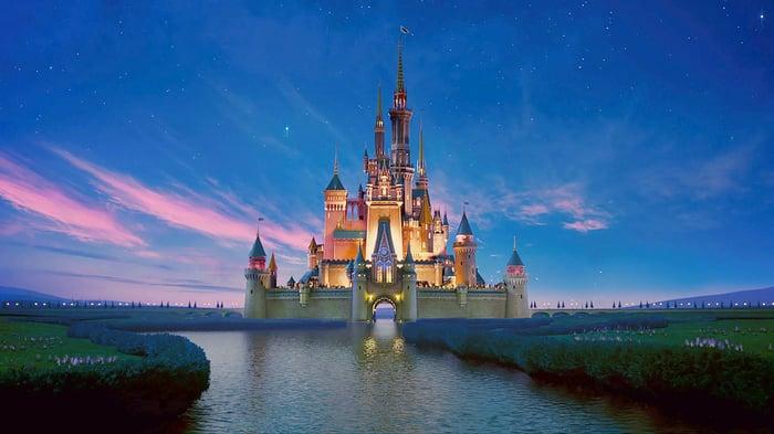 Magic Kingdom castle as seen from across a waterway near dawn.
