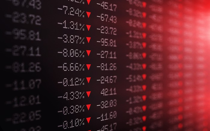 A list of declining stock prices.